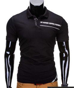 Juodos spalvos polo vyriški marškinėliai vyrams internetu pigiau Fash S685