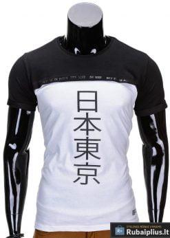Juodos spalvos vyriški marškinėliai vyrams internetu pigiau Tokio S692