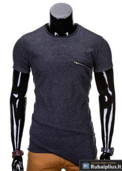 Juodos spalvos vyriški marškinėliai vyrams internetu pigiau Vilton S696