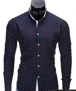 Tamsiai mėlyni vyriški marškiniai vyrams internetu pigiau Inkaras K314