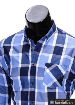 Mėlynos spalvos languoti vyriški marškiniai vyrams