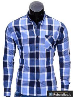 """Mėlynos spalvos languoti vyriški marškiniai vyrams """"Greg"""" - Rubaiplius.lt"""