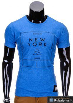 Mėlynos spalvos vyriški marškinėliai vyrams internetu pigiau Oracul S688