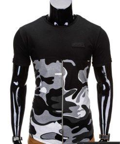 Kamufliažiniai juodos spalvos vyriški marškinėliai vyrams internetu pigiau Zag S683