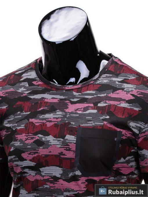 """Kamufliažiniai pilkai-raudi vyriški marškinėliai vyrams """"Gift"""" - Rubaiplius.lt"""