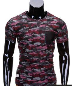 Kamufliažiniai pilkos-raudonos spalvos vyriški marškinėliai vyrams internetu pigiau Gift S690
