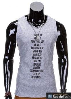 """Pilkos spalvos be rankovių vyriški marškinėliai vyrams """"Rurk"""" - Rubaiplius.lt"""
