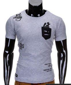 Pilkos spalvos vyriški marškinėliai vyrams internetu pigiau Dreik S686
