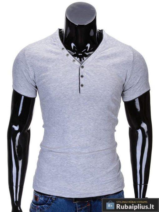Pilkos spalvos vyriški marškinėliai vyrams internetu pigiau Vip S641
