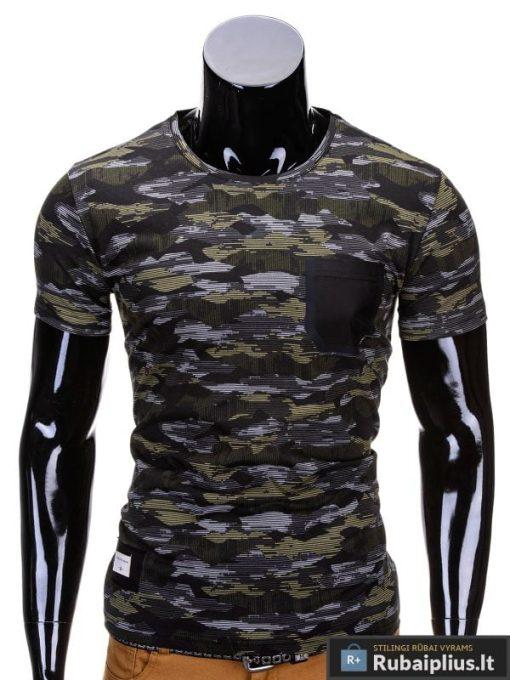 Kamufliažiniai pilkos-žalios spalvos vyriški marškinėliai vyrams internetu pigiau Gift S690