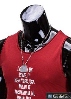 """Raudoni be rankovių vyriški marškinėliai vyrams """"Rurk"""" - Rubaiplius.lt"""