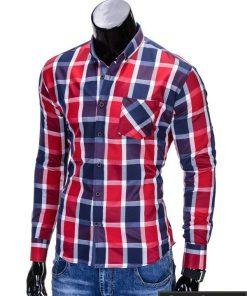 """Raudonos spalvos languoti vyriški marškiniai vyrams """"Greg"""" - Rubaiplius.lt"""