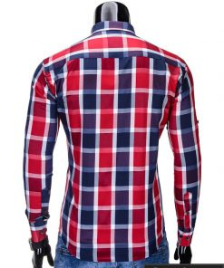 Raudonos spalvos languoti vyriški marškiniai vyrams