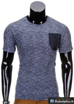 Tamsiai mėlynos spalvos vyriški marškinėliai vyrams internetu pigiau Snake S702