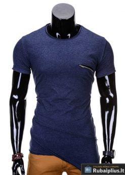 Tamsiai mėlynos spalvos vyriški marškinėliai vyrams internetu pigiau Vilton S696