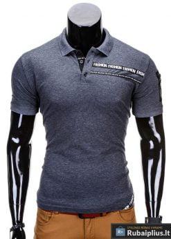 Pilkos spalvos polo vyriški marškinėliai vyrams internetu pigiau Fash S685