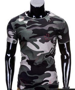 Žalios spalvos kamufliažiniai vyriški marškinėliai vyrams internetu pigiau Soldier S698