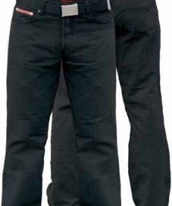 Didelių dydžių klasikinio stiliaus vyriškos juodos spalvos džinsinės kelnės su diržu Mario KS1554