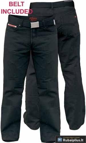 Klasikinio stiliaus vyriškos juodos spalvos džinsinės kelnės su diržu Mario-KS1554