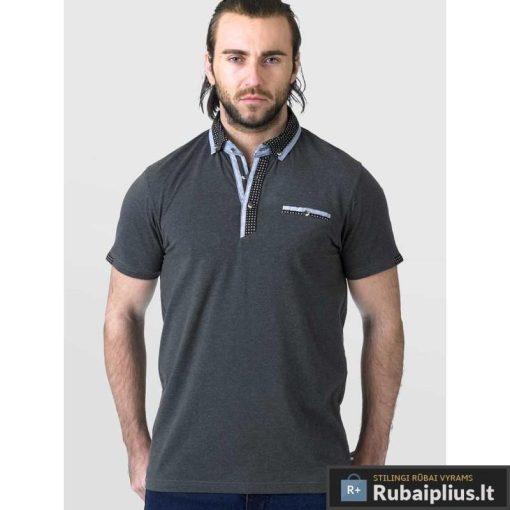 Didelių dydžių pilkos spalvos vyriški polo marškinėliai vyrams internetu pigiau Jagger KS16397A-P