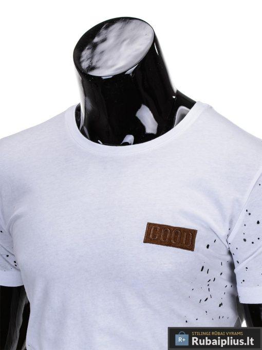 madingi vyriški marškinėliai baltos spalvos, denim kolekcijos vyriški marškinėliai, trumpomis rankovėmis marškinėliai vyrams, klasikiniai vyriški marškinėliai, stilingi marškinėliai vyrams internetu, originalūs vyriški marškinėliai, marškinėliai vyrams spalvos, vyriški marškinėliai su užrašu ir aplikacija, stilingi marškinėliai uz gera kaina, protinga kaina, akcija, nuolaidos rūbams