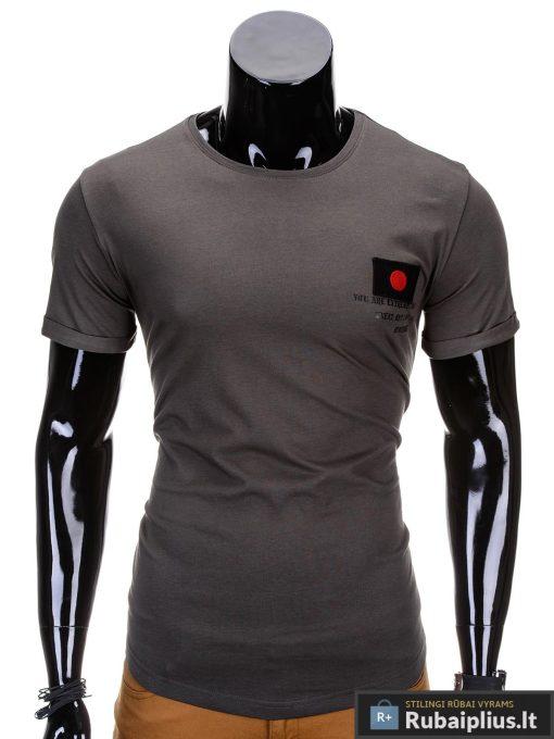 Chaki spalvos vyriški marškinėliai vyrams internetu pigiau Fixi S684