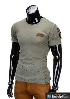 madingi vyriški marškinėliai chaki spalvos, denim kolekcijos vyriški marškinėliai, trumpomis rankovėmis marškinėliai vyrams, klasikiniai vyriški marškinėliai, stilingi marškinėliai vyrams internetu, originalūs vyriški marškinėliai, marškinėliai vyrams spalvos, vyriški marškinėliai su užrašu ir aplikacija, stilingi marškinėliai uz gera kaina, protinga kaina, akcija, nuolaidos rūbams