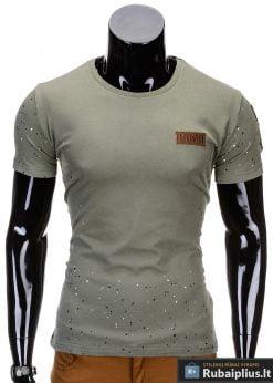 Chaki spalvos vyriški marškinėliai vyrams internetu pigiau Good S691