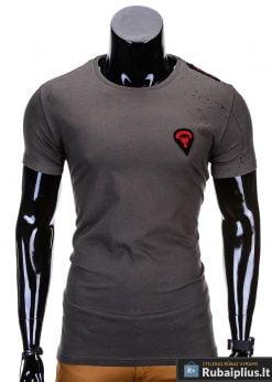Chaki spalvos vyriški marškinėliai vyrams internetu pigiau Rik S699