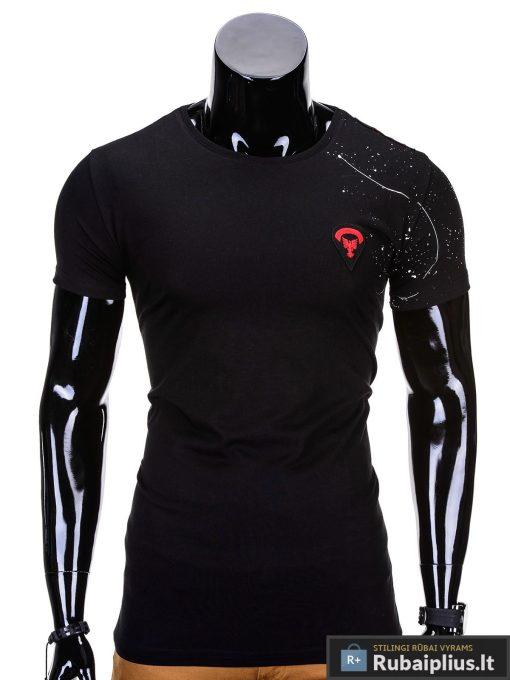Juodos spalvos vyriški marškinėliai vyrams internetu pigiau Rik S699