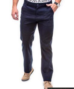 Klasikinio stiliaus vyriškos tamsiai mėlynos spalvos kelnės vyrams Indens P309