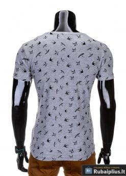 marškinėliai vyrams išmarginti juodos spalvos kregždutėmis, madingi vyriški marškinėliai pilkos spalvos, denim kolekcijos vyriški marškinėliai, trumpomis rankovėmis marškinėliai vyrams, klasikiniai vyriški marškinėliai, stilingi marškinėliai vyrams internetu, originalūs vyriški marškinėliai, marškinėliai vyrams spalvos, vyriški marškinėliai su užrašu ir aplikacija, stilingi marškinėliai uz gera kaina, protinga kaina, akcija, nuolaidos rūbams