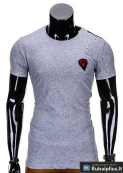 Pilkos spalvos vyriški marškinėliai vyrams internetu pigiau Rik S699