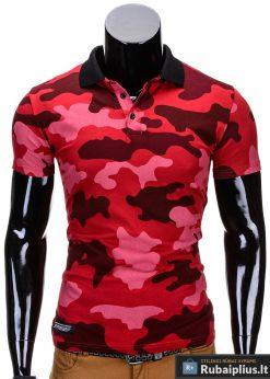 Raudonos spalvos kamufliažiniai vyriški polo marškinėliai vyrams internetu pigiau Armino S694