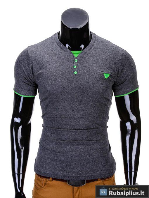 Tamsiai pilkos-žalios spalvos vyriški marškinėliai vyrams internetu pigiau Timmy S629