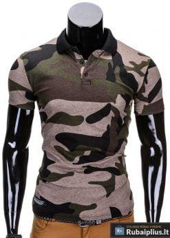 Žalios spalvos kamufliažiniai vyriški polo marškinėliai vyrams internetu pigiau Armino S694