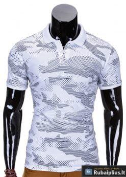 Baltos spalvos kamufliažiniai vyriški polo marškinėliai vyrams internetu pigiau Vins S754