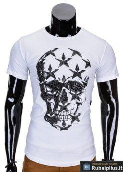 Baltos spalvos vyriški marškinėliai vyrams su kaukolės aplikacija Kost S719