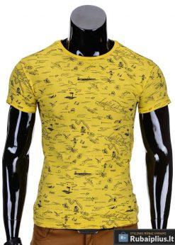 Geltonos spalvos vyriški marškinėliai vyrams internetu pigiau Tur S729