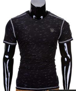 Juodos spalvos vyriški marškinėliai vyrams internetu pigiau Side S745