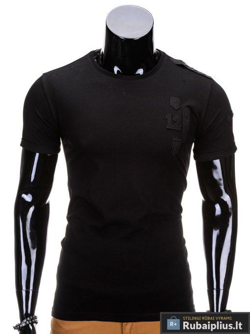 Juodos spalvos vyriški marškinėliai vyrams internetu pigiau 12 S701
