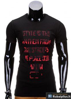 Juodos spalvos vyriški marškinėliai vyrams internetu pigiau Style S703