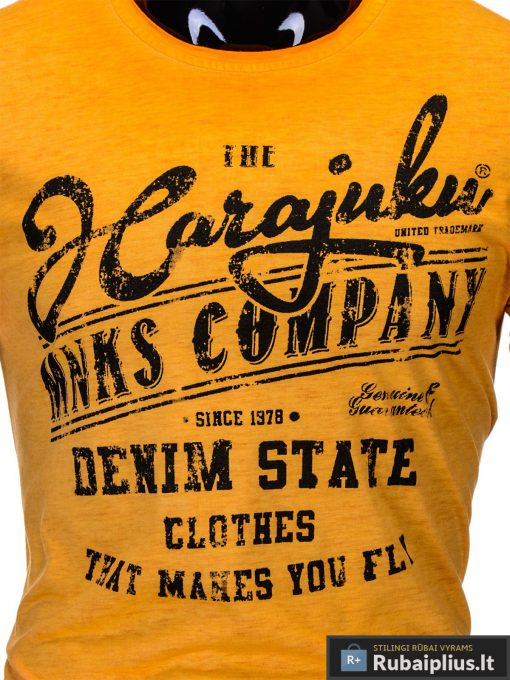 vyriški marškinėliai ranžinės spalvos, denim kolekcijos oranžiniai vyriški marškinėliai, trumpomis rankovėmis marškinėliai vyrams, klasikiniai vyriški marškinėliai, marškinėliai vyrams internetu, originalūs vyriški marškinėliai, marškinėliai vyrams spalvos, marškinėliai su užrašu ir aplikacija, marškinėliai uz gera kaina, protinga kaina, akcija, nuolaidos rūbams