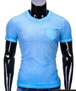 Šviesiai mėlynos spalvos vyriški marškinėliai vyrams internetu pigiau Den S674