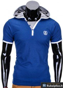 Tamsiai mėlynos spalvos vyriški marškinėliai vyrams internetu pigiau Ozzi S682