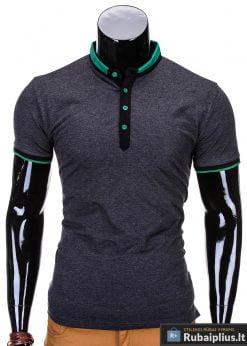 Tamsiai pilkos spalvos vyriški marškinėliai vyrams internetu pigiau Alan S765
