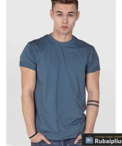 Didelių dydžių šviesiai smaragdinės spalvosvyriški marškinėliai vyrams internetu FLYERS KS16581TEAL