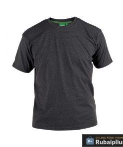Didelių dydžių tamsiai pilkos spalvos vyriški marškinėliai vyrams internetu FLYERS KS16581TP