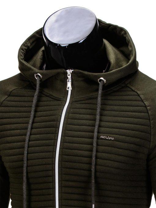 Vyriškas džemperis vyrams chaki spalvos su gobtuvu.