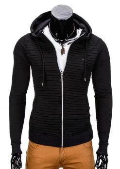 Vyriškas džemperis vyrams juodos spalvos su gobtuvu.